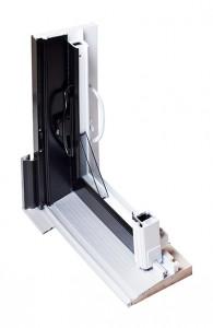 Détail système porte patio hybride